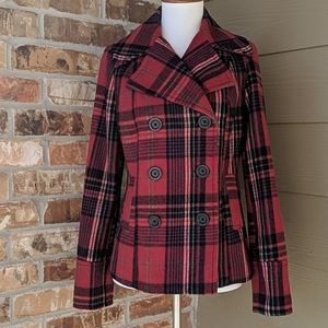 Red plaid coat